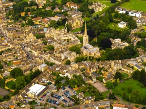 An aerial view of Oundle