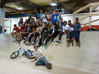 Antler Languages students skateboarding, BMX and scooters