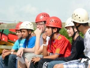 Antler Languages students abseiling at Rock UK, Irthlingborough