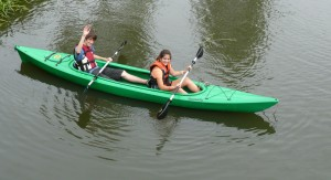 Antler Languages students in a canoe on the River Nene, Oundle Wharf